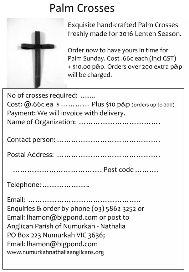 Palm Cross order form 2018