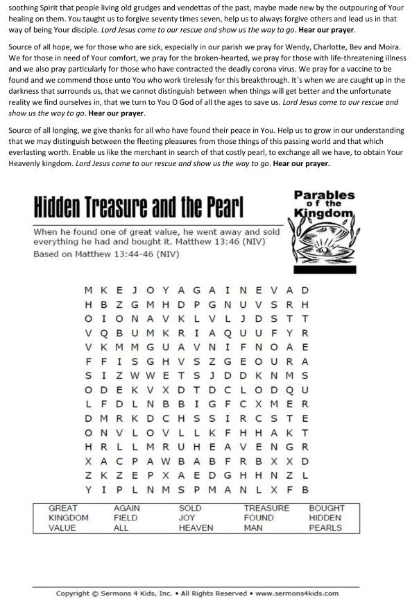 Sermon of seeking the treasure prayers notices puzzles2