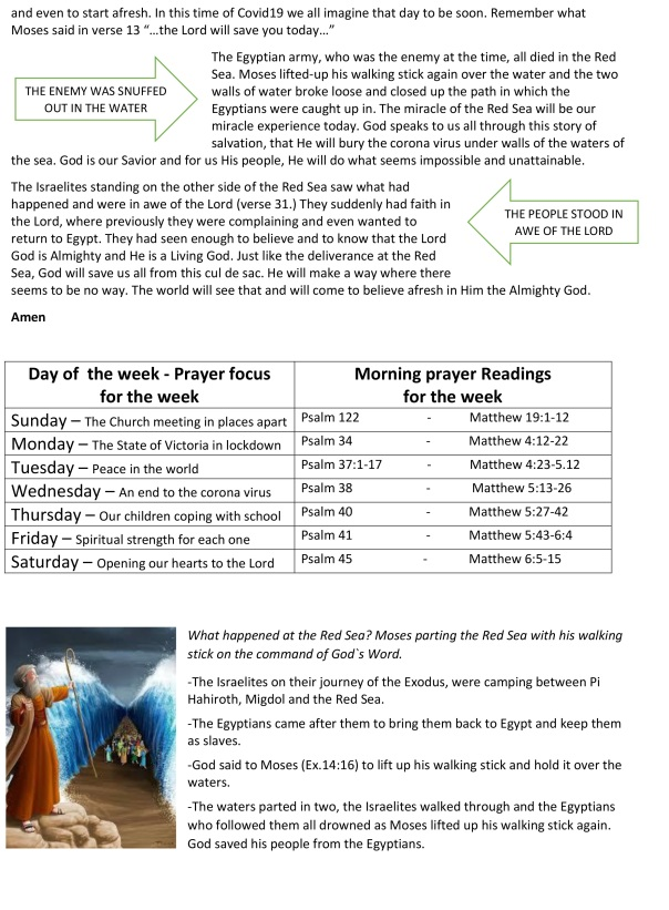 Sermon of the Red Sea, prayers, puzzles & notices(a)