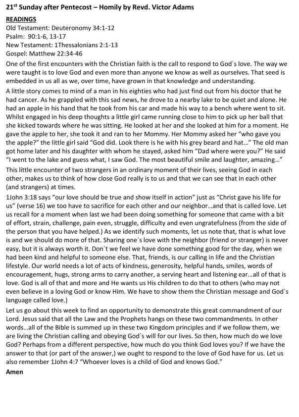 Homily on the love of God & pewsheet-1