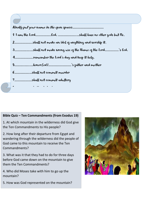Homily on the Ten Commandments prayers notices puzzles (002)b